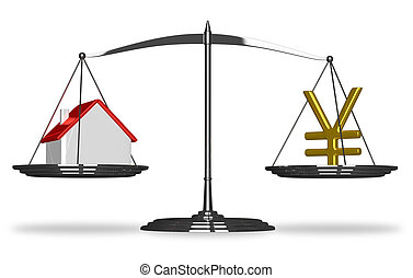 House and yuan sign on scales - House and golden yuan sign...