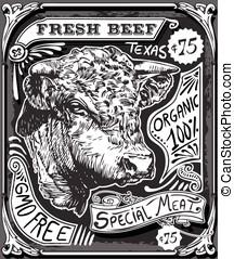 vendimia, carne de vaca, publicidad, página, en,...