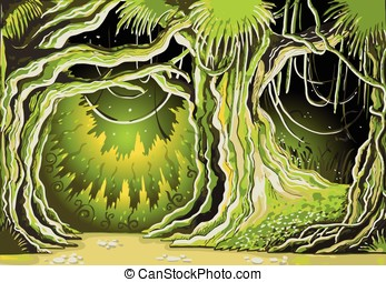 Magic Tale Forest Background - Detailed illustration of a...