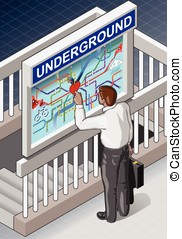 Isometric Underground Map - Man who is Searching for