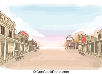 Old Wilde West Scenery - Detailed illustration of a Old...