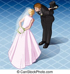 Isometric Kissing Wedding Couple - Detailed illustration of...