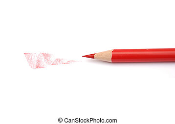 Red Pencil closeup isolated on white