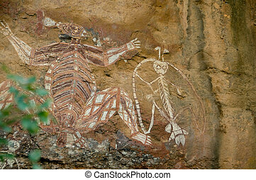 aboriginal rock art - aboriginal rock art in Kakadu National...