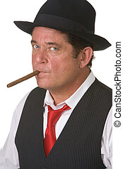 Man smoking cigar. Isolated against white background
