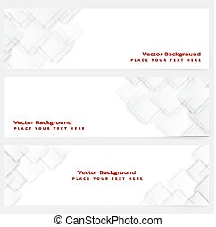 Abstract template horizontal banner with  white squares