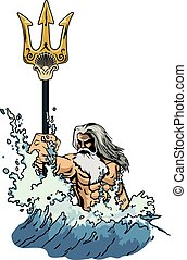 poseidon - illustration sea god Neptune or Poseidon, comes...