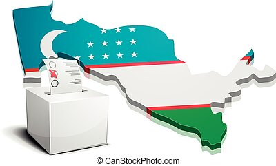 ballotbox Uzbekistan - detailed illustration of a ballotbox...