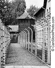 Auschwitz Concentration Camp, Oswiecim, Poland, black and...