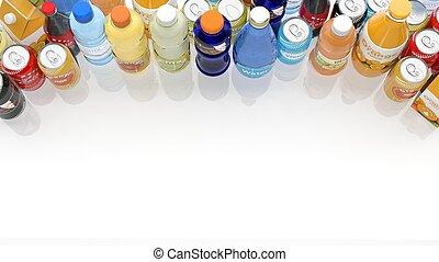 grupo, de, vario, refrescos, aislado, en, blanco,