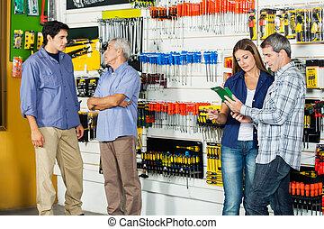 clientes, en, hardware, Tienda,
