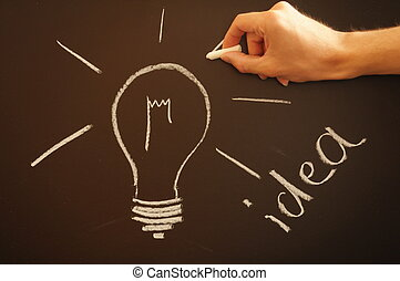 creative bulb idea - bulb on chalkboard showing idea...