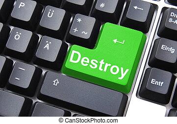 destroy button - dangerous destroy button on black computer...