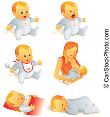 Icon set - baby life scenes - Icon set - babies cry, smile,...