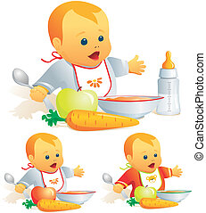 Baby nutrition, solid food, milk - Baby feeding,...