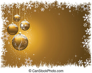 Decorative Christmas background with snowy baubles