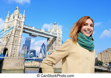 happy travel woman - Happy woman travel in London with tower...