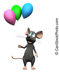Smiling cartoon mouse holding balloons.