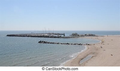 Beach and Bay Panorama - A view from above of harbour and...