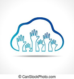 Group of up hands in the cloud