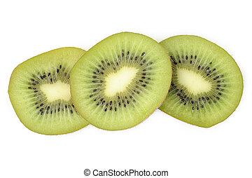 Kiwi fruit slices on white background