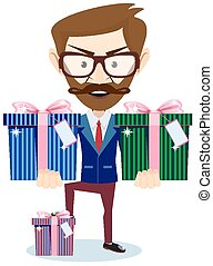 Businessman offering many gifts - Businessman offering a lot...