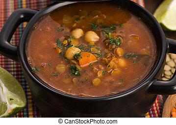 Berbère,  -, marocain, traditionnel, soupe,  harira
