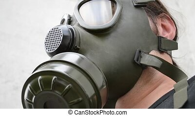 Bottom View of Gas Mask On - Low angle shot of a gas mask...