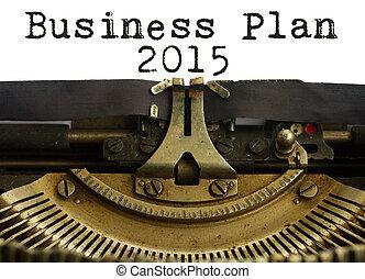 Business plan 2015 words on vintage typewriter