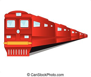 Train of the red colour on white ba