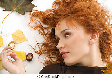 the  fall girl with red hair