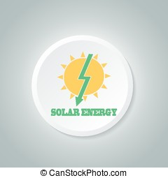 Solar Energy Symbol. Vector Eco Icon. Button Icon.