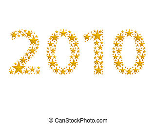 2010 made from stars - 2010 made from golden stars on white...