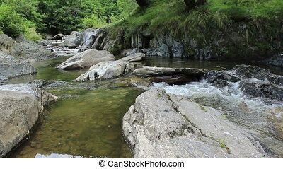 Clean Mountain River - An unpolluted mountain river flowing...