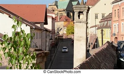 Chimney and Medieval Paved Street - A chimney on the roof...