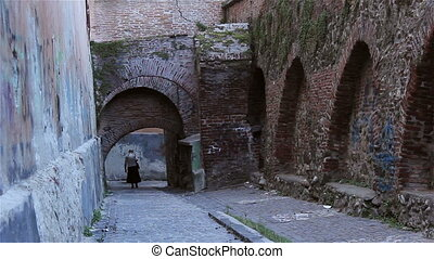 Citadel Walls and Gangways - Arches and fortified red brick...