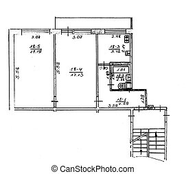 House plan schemeBlack and white illustration