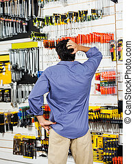Confused Customer Scratching Head In Hardware Shop - Rear...