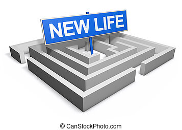 New Life Concept - New life concept with a labyrinth and a...