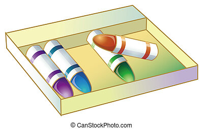 crayons - four different color crayons in a yellow box