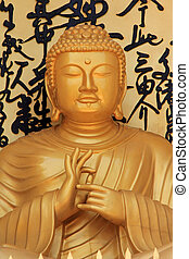 Buddha statue at World Peace Pagoda - Golden Buddha statue...