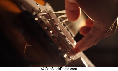 Electric Guitar Strings and Fingers - Plucked and strummed...