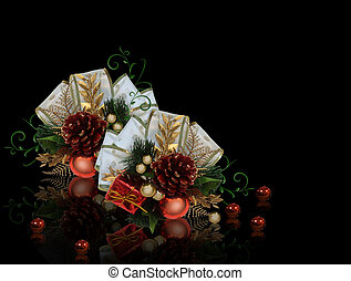 Christmas decoration on black background