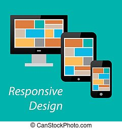 Flat responsive design of computer monitor, tablet PC and...