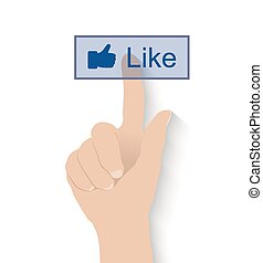 Hand pushing like button on white background