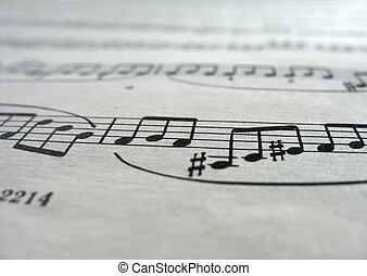 Close-up musical notes sheet with focus in center