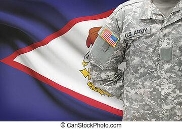 Samoa,  -, americano, soldato, bandiera, fondo