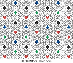Luxury white poker background with card symbols ornament -...