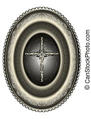 Oval silver medallion with cross f