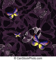 Seamless floral violet background with butterflies. Vector...